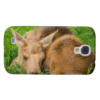 Baby Moose Sleeping In Grass, Baby Animal Samsung Galaxy S4 Cases