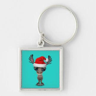 Baby Moose Wearing a Santa Hat Keychain