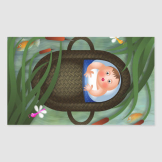 Baby Moses Passover Cartoon Rectangular Sticker
