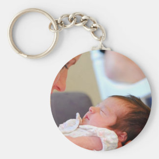baby mother looking basic round button keychain