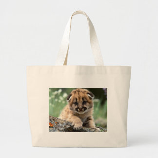 Baby Mountain Lion Cub Large Tote Bag
