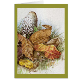 Baby Mouse in the Leaves Card
