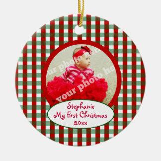 Baby My First Christmas Checks Keepsake Ornament