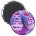 Baby Name magnets Personalized Pink Tennis Shoes