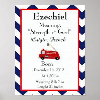 Baby Name meaning keepsake nursery Ezechiel name Poster