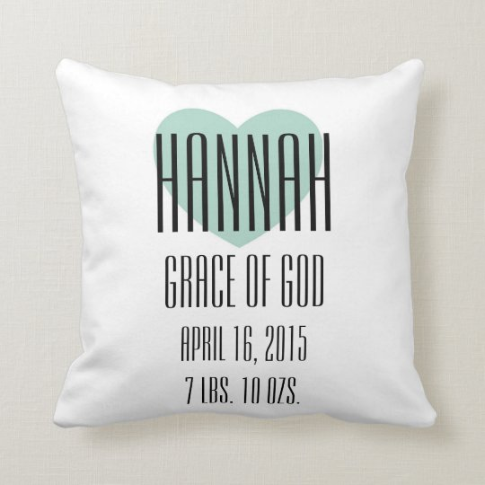 Baby Name Meaning Pillow Hannah Zazzle Com