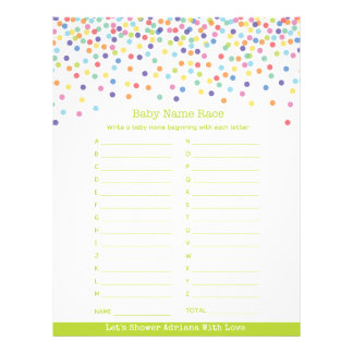 Baby Name Race Confetti Baby Shower Game Letterhead