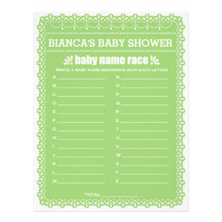 Baby Name Race Green Papel Picado Baby Shower Game Letterhead