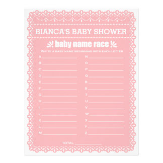 Baby Name Race Pink Papel Picado Baby Shower Game Letterhead