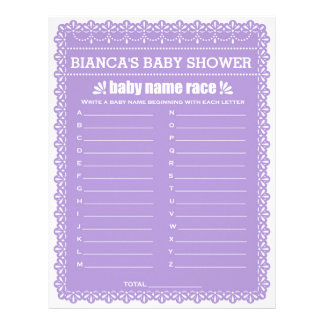 Baby Name Race Purple Papel Picado Baby Shower Letterhead