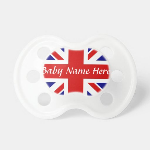 Baby Name +The Union Jack Flag Baby Pacifier