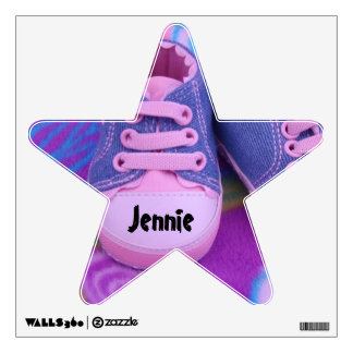 Baby Name wall decal Pink Baby Girl's Shoes Star