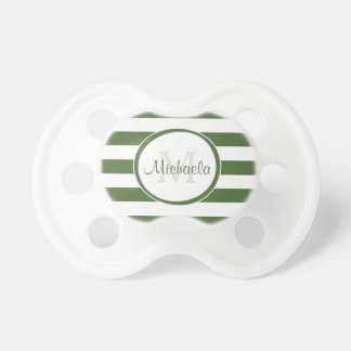 Baby Name With Modish Large Dark Green Stripes Pacifier