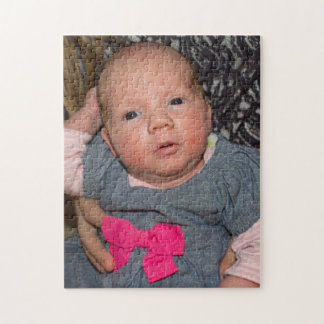 Baby Natalie in a Blue Denim Dress with Pink Bow Jigsaw Puzzle