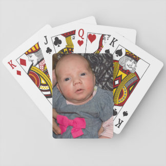 Baby Natalie in a Blue Denim Dress with Pink Bow Playing Cards