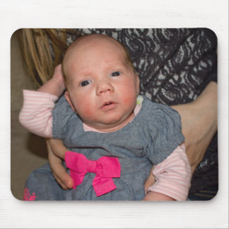 Baby Natalie in a Blue Dress with Pink Bow Mouse Pad