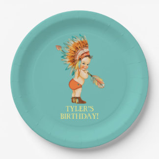 Baby Native Tribal Headdress Moccasins Paper Plate