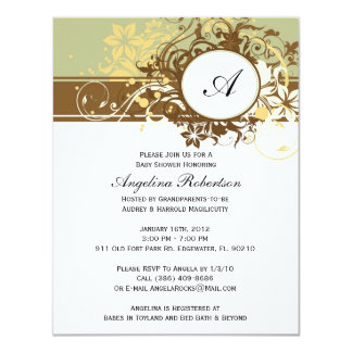 Baby Neutral Cute Shower Flowers Invitations