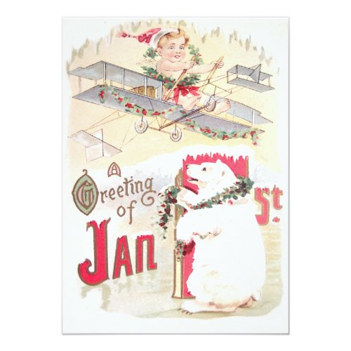 Baby New Year Airplane Polar Bear 5x7 Paper Invitation Card