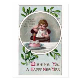 Baby New Year and Birthday Cake Postcard