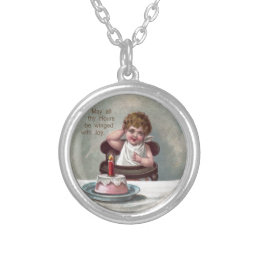 Baby New Year and Birthday Cake Silver Plated Necklace