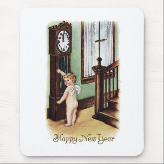 Baby New Year and Grandfather Clock Mouse Pad