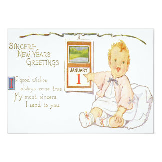 Baby New Year Calendar Happy Card
