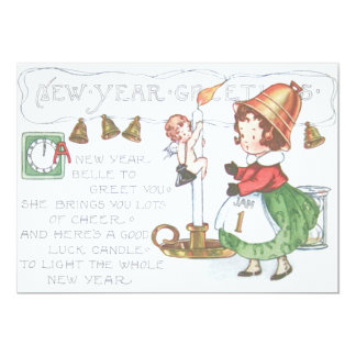 Baby New Year Candle Bells Clock Hourglass Card