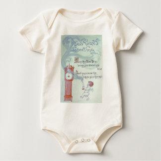 Baby New Year Cherub Angel Grandfather Clock Baby Bodysuit