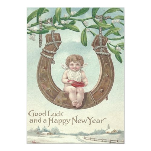 Baby New Year Horseshoe Swing Mistletoe 5x7 Paper Invitation Card