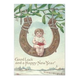 Baby New Year Horseshoe Swing Mistletoe Card