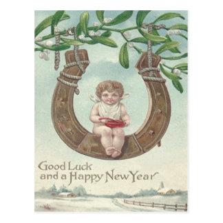 Baby New Year Horseshoe Swing Mistletoe Postcard
