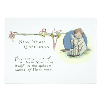 Baby New Year Hourglass Bell Card