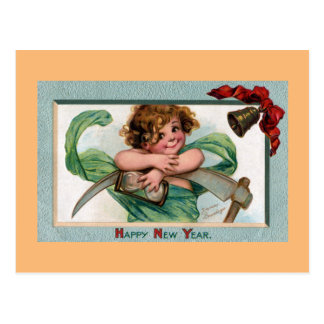Baby New Year with Hourglass and Scythe Postcard