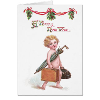 Baby New Year with Valise Vintage New Year Card