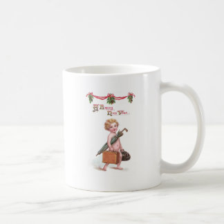 Baby New Year with Valise Vintage New Year Coffee Mug