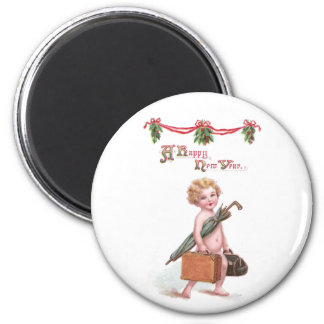 Baby New Year with Valise Vintage New Year Magnet