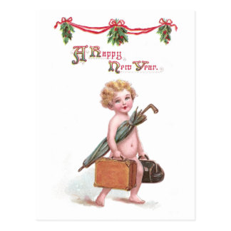 Baby New Year with Valise Vintage New Year Postcard