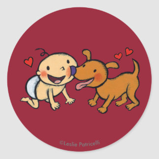 Baby Nose Kisses from the Dog Classic Round Sticker