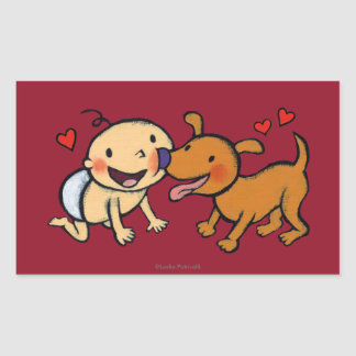 Baby Nose Kisses from the Dog Rectangular Sticker
