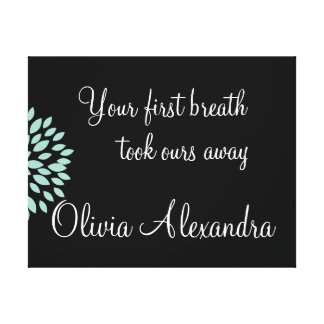 Baby Nursery Quote First Breath with Name Canvas Print