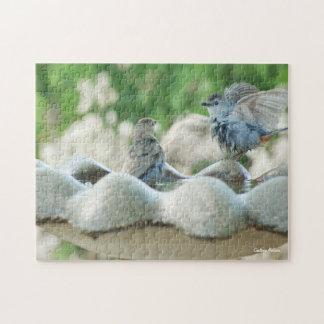 Baby Nuthatch Cute Birds in Birdbath Jigsaw Puzzle