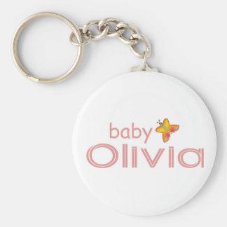 Baby Olivia Basic Round Button Keychain