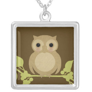 Baby Ollie the Owl Square Pendant Necklace