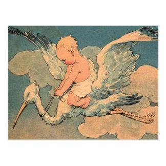 Baby on a Stork Postcard