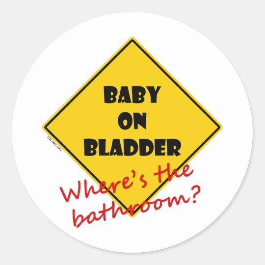 Baby on Bladder Classic Round Sticker