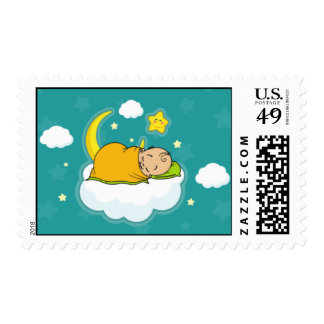 Baby on Cloud Gender-Neutral Baby Shower Stamp