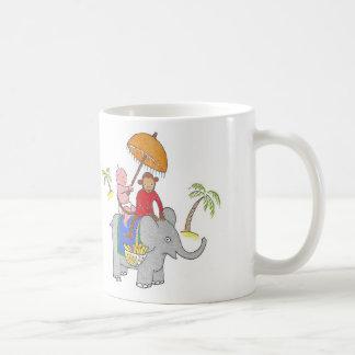 Baby on elephant coffee mug