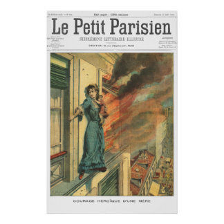 Baby on fire 2 - 1906 French newspaper print