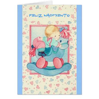 Baby on little horses - blue-pink - FELIZ Card